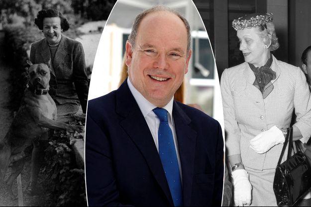 Le prince Albert II de Monaco, le 24 juin 2020. A gauche, sa grand-mère paternelle, la princesse Charlotte de Monaco en 1949. A droite, sa grand-mère maternelle Margaret Kelly en 1956