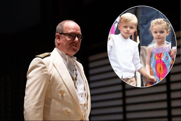 Le prince Albert II de Monaco au banquet de l'intronisation de l'empereur Naruhito du Japon à Tokyo, le 22 octobre 2019. En vignette, le prince Jacques et la princesse Gabriella le 6 septembre 2019
