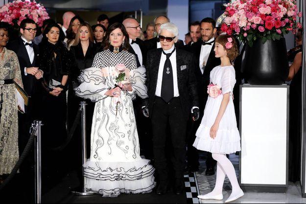 Caroline de Monaco et Karl Lagerfeld au 63e Bal de la Rose, à Monaco le 18 mars 2017