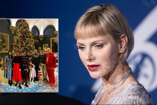 La princesse Charlène de Monaco, le 24 septembre 2020. En vignette, avec le prince Albert II, la princesse Gabriella et la princesse Stéphanie de Monaco et ses enfants, à Noël 2020