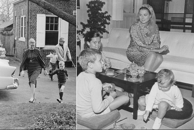 La princesse Grace de Monaco avec ses trois enfants à Ocean City, le 15 septembre 1966. A gauche, la princesse Grace et le prince Rainier III avec la princesse Caroline et le prince Albert à Philadelphie, en avril 1963