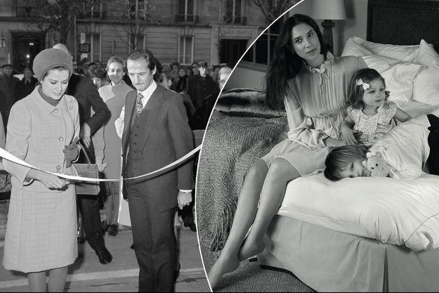 La princesse Grace de Monaco à Paris le 8 novembre 1967. A droite, Tatiana Santo Domingo-Casiraghi et ses enfants en 2017