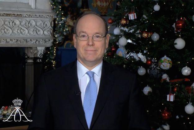 Le prince Albert II de Monaco lors de son allocution pour ses voeux 2015