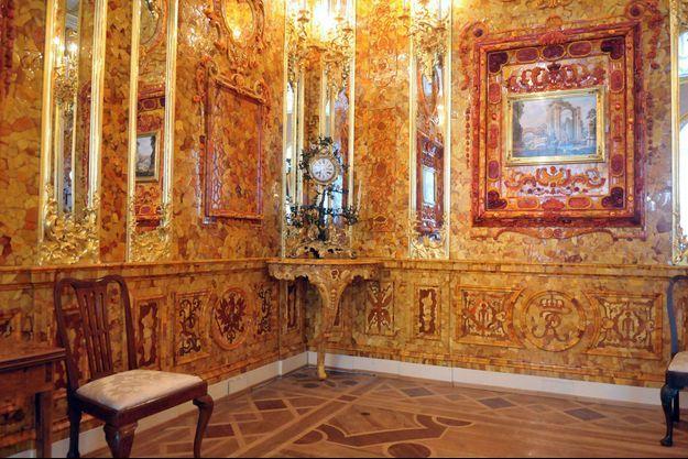 Détail de la reconstitution de la Chambre d'ambre au palais Catherine à Pouchkine (anciennement Tsarskoïe Selo) en 2009