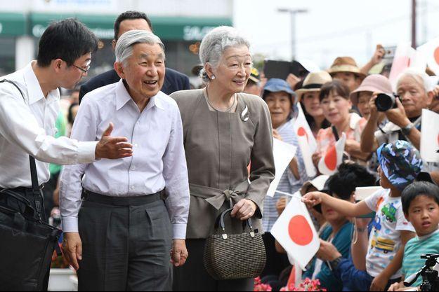 L'empereur Akihito du Japon avec l'impératrice Michiko à Nasu-Shiobara, le 28 juillet 2016