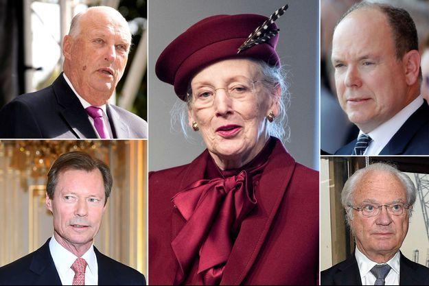 Le roi Harald V de Norvège, le grand-duc Henri de Luxembourg, la reine Margrethe II de Danemark, le prince Albert II de Monaco, le roi Carl XVI Gustaf de Suède