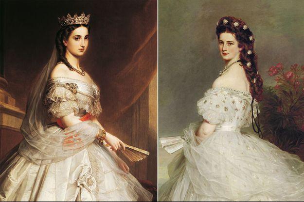 Portrait de l'impératrice Charlotte du Mexique par Albert Grafle, en 1865 (musée national d'Histoire de Mexico) – Portrait de l'impératrice Elisabeth d'Autriche par Winterhalter, en 1865