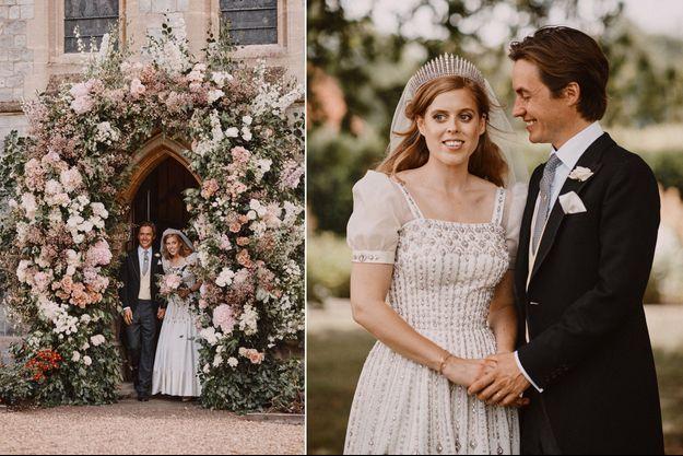 La princesse Beatrice d'York et Edoardo Mapelli Mozzi le 17 juillet 2020, jour de leur mariage à Windsor