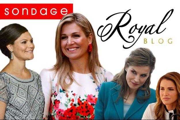 La princesse Victoria de Suède, la reine Maxima des Pays-Bas, la reine Letizia d'Espagne et la reine Rania de Jordanie.