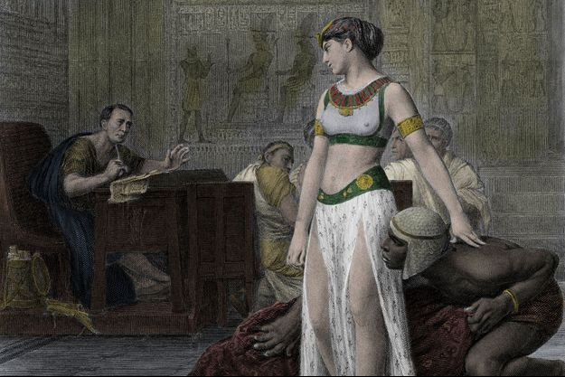 Cléopâtre, sortie du tapis, apparaît devant Jules César, détail (d'après le tableau de Jean-Léon Gérôme)