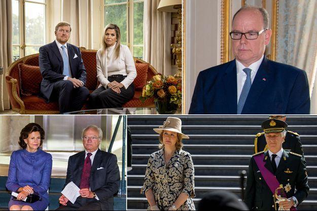 Le roi Willem-Alexander et la reine Maxima des Pays-Bas, le prince Albert II de Monaco, la reine Silvia et le roi Carl XVI Gustaf de Suède, la reine Mathilde et le roi des Belges Philippe