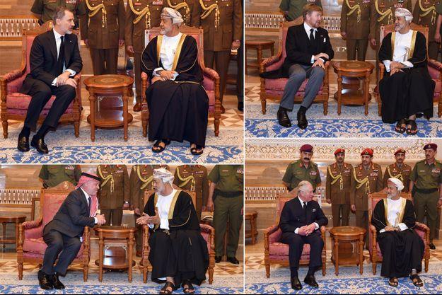 Les rois Felipe VI d'Espagne, Willem-Alexander des Pays-Bas, Abdallah de Jordanie et le prince Charles d'Angleterre avec le nouveau sultan d'Oman à Mascate, les 1é et 14 janvier 2020