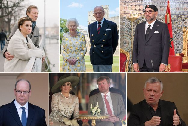 Le grand-duc Henri et la grande-duchesse Maria Teresa de Luxembourg, le 26 janvier 2020. La reine Elizabeth II et le prince Philip, le 9 juin 2020. Le roi Mohammed VI du Maroc, le 29 juillet 2020. Le prince Albert II de Monaco, le 23 juin 2020. Le roi Willem-Alexander et la reine Maxima des Pays-Bas, le 11 mars 2020. Le roi Abdallah II de Jordanie, le 16 mars 2020