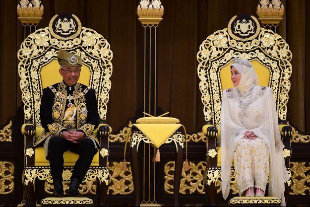 Le roi et la reine de Malaisie, lors de la cérémonie de couronnement le 30 juillet 2019