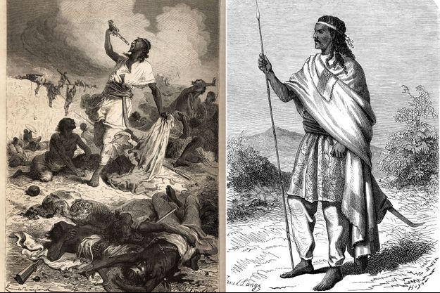 Gravures du XIXe siècle figurant l'empereur Téwodros II d'Ethiopie (à droite) et son suicide le 13 avril 1868 (à gauche)