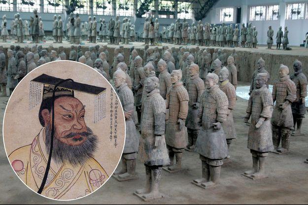 L'armée d'outre-tombe de l'empereur Qin Shi Huang, en 2004. En médaillon, Qin Shi Huang