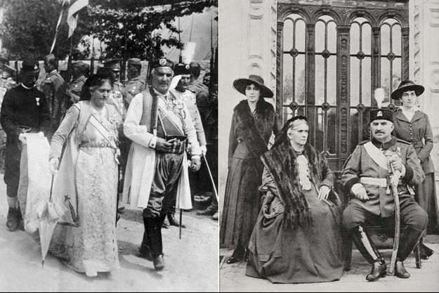 Le roi Nikola Ier de Monténégro et la reine Milena vers 1912. A droite, avec leurs filles les princesses Xenia et Vjera, au début de leur exil à Bordeaux (Journal «L'Illustrazione Italiana» du 30 mars 1919)