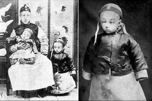 L'empereur de Chine Puyi à 3 ans, avec son père et son jeune frère. A droite, Puyi le 23 février 1909