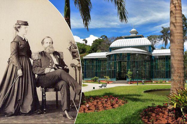 La princesse Isabel et son père l'empereur du Brésil Pedro II en 1870. Le Palais de Cristal de Petropolis