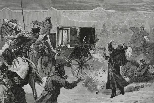 Gravure figurant l'attentat dont fut victime l'empereur Alexandre II de Russie, le 13 mars 1881