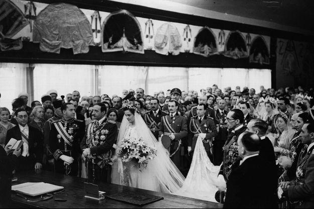 Le mariage du roi Zog Ier d'Albanie et de la comtesse Géraldine d'Apponyi, à Tirana le 27 avril 1938