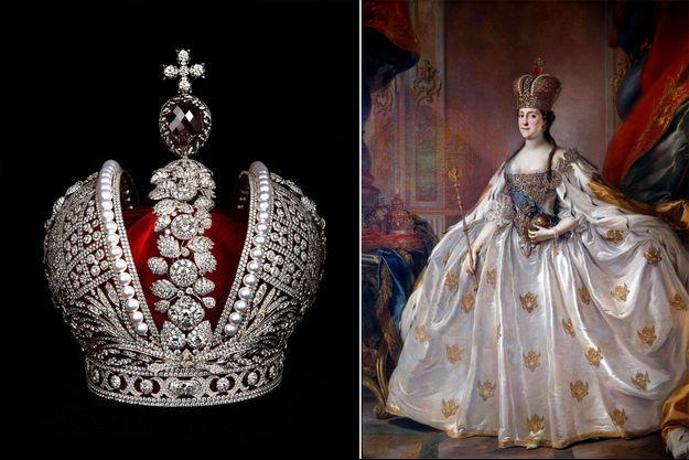 Réplique de la couronne impériale de Catherine II de Russie et portrait de l'impératrice de Russie Catherine II dans sa tenue de couronnement par Stefano Torelli (Musée de l'Ermitage, Saint-Pétersbourg)