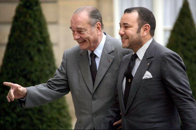 Jacques Chirac et le roi Mohammed VI du Maroc au Palais de l'Elysée à Paris, le 13 décembre 2005