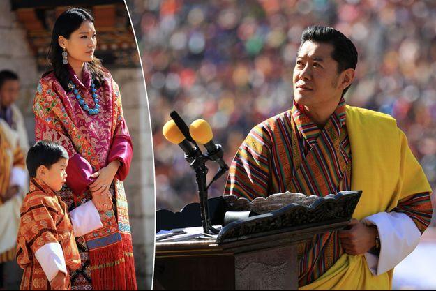 Le roi du Bhoutan Jigme Khesar Namgyel Wangchuck, la reine Jetsun Pema et leur fils le prince Jigme Namgyel à Thimphu, le 18 décembre 2019