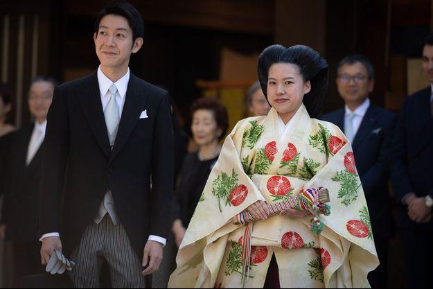 La princesse Ayako du Japon et Kei Moriya, lors de leur mariage à Tokyo le 29 octobre 2019