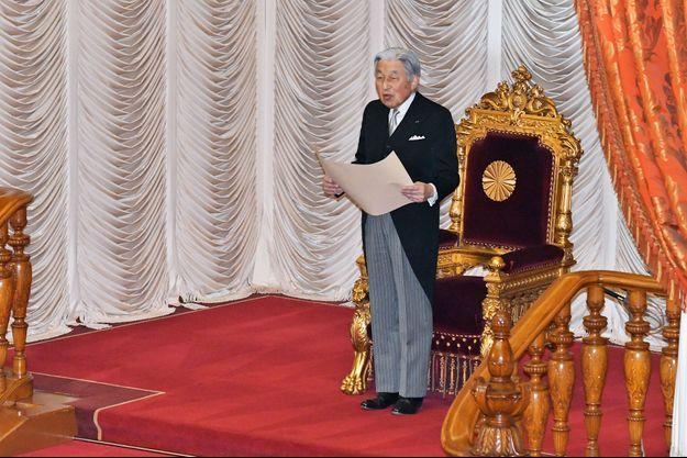 L'empereur Akihito du Japon ouvre pour la dernière fois le Parlement à Tokyo, le 28 janvier 2019