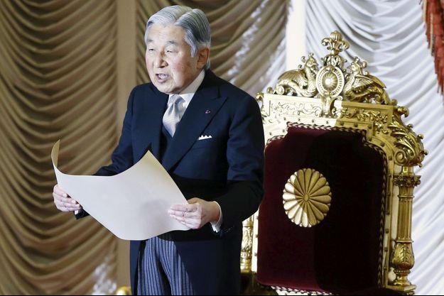 L'empereur Akihito du Japon lors de l'ouverture du Parlement, le 4 janvier 2016