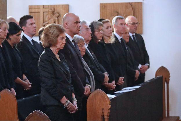 L'ex-reine Sofia d'Espagne et la princesse Caroline de Hanovre aux obsèques de la princesse Marie de Liechtenstein à Vaduz, le 28 août 2021