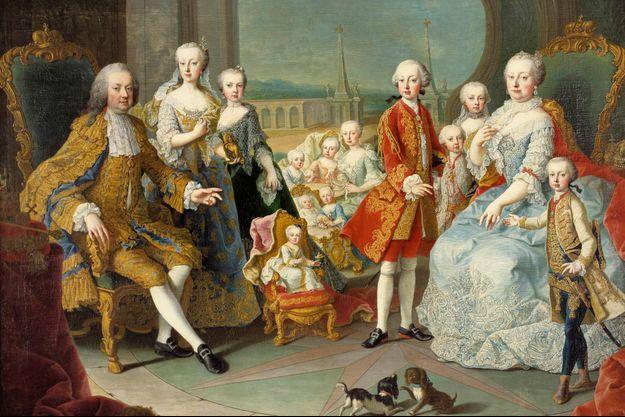 Détail de l'un des portraits de l'impératrice Marie-Thérèse d'Autriche en famille (atelier de Martin II Van Meytens - musee du château de Versailles)