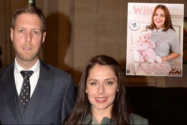 """Le prince Leka II d'Albanie et la princesse Elia, le 6 février 2020. En vignette, l'annoncé de leur interview dans """"Revista Who"""""""