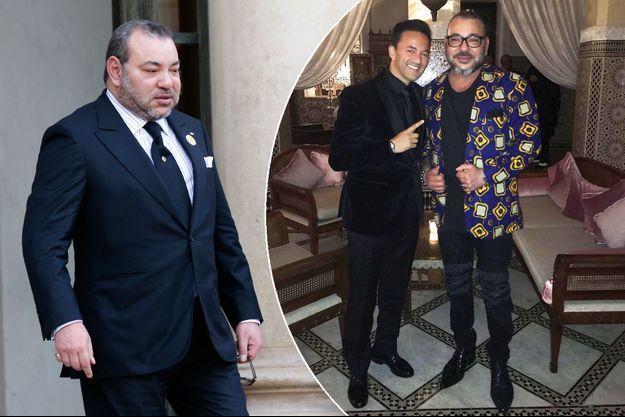 Le roi Mohammed VI du Maroc, le 17 février 2016. A gauche, avec RedOne en décembre 2016