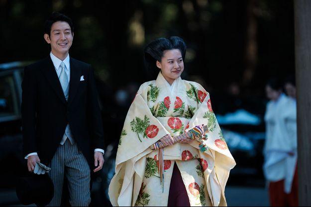 La princesse Ayako du Japon et Kei Moriya lors de leur mariage, le 29 octobre 2018