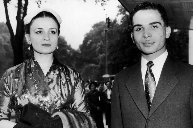 La reine Dina et le roi Hussein de Jordanie en 1957