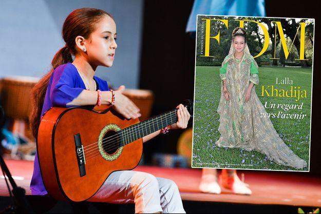 """La princesse Lalla Kadhija du Maroc, le 25 juin 2017 - A droite, la couverture de """"Femmes du Maroc"""""""