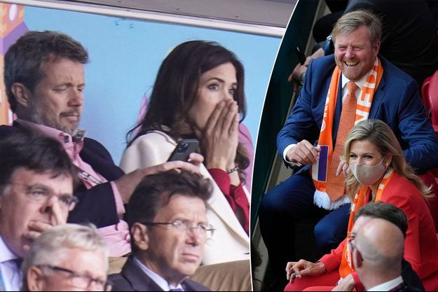 Le prince héritier Frederik et la princesse Mary de Danemark le 12 juin et la reine Maxima et le roi Willem-Alexander des Pays-Bas le 13 juin 2021, lors de matchs de l'Euro de football