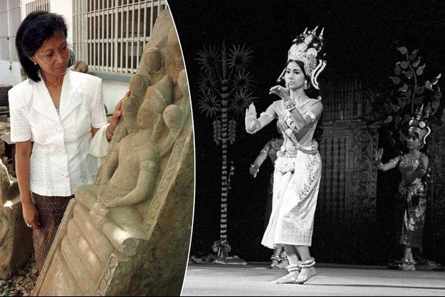 La princesse Norodom Bopha Devi du Cambodge. A droite, danseuse étoile du Ballet royal du Cambodge, le 1er juillet 1964