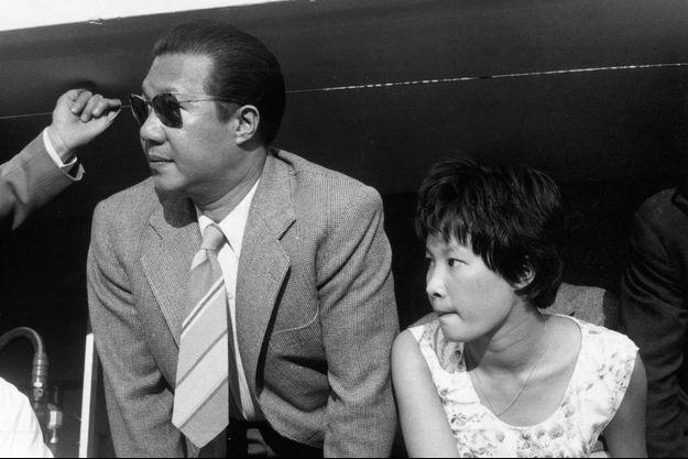 La princesse Phuong Mai avec son père l'empereur du Vietnam Bao Dai au Grand Prix de Formule 1 de Monza en 1955