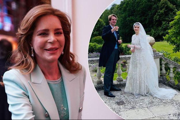 L'ancienne reine Noor de Jordanie, le 5 mars 2019 à New York. A droite, sa plus jeune fille la princesse Raiyah le jour de son mariage avec le Britannique Faris Ned Donovan