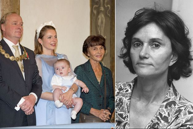 Maria Teresa de Bourbon-Parme en 1989 (à droite) et en 2016 avec son neveu le prince Carlos Javier, prétendant carliste au trône d'Espagne, sa femme et son fils