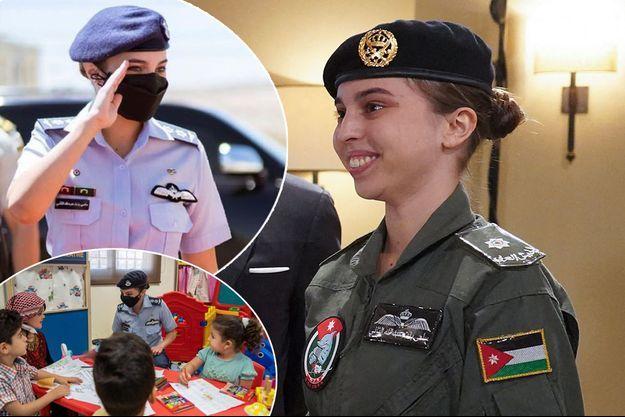 La princesse Salma de Jordanie, le 8 janvier 2020. En vignettes, lors de l'inauguration du Centre de formation militaire des femmes dans le gouvernorat de Zarqa, le 7 juin 2021