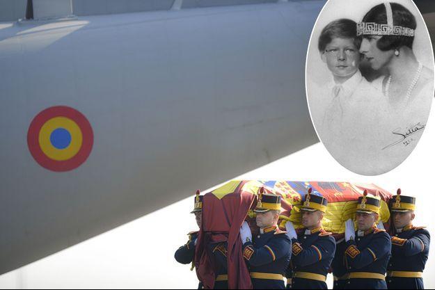 Le cercueil de l'ancienne reine mère Hélène de Roumanie à son arrivée à l'aéroport d'Otopeni. En médaillon, avec son fils le roi Michel Ier