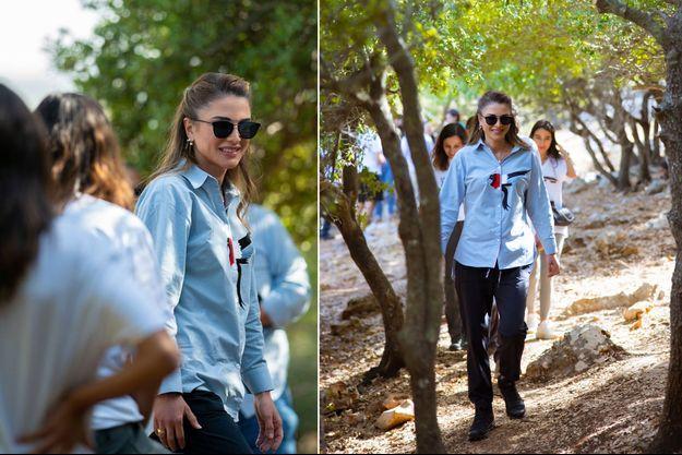 La reine Rania de Jordanie à Birgesh, le 13 septembre 2021