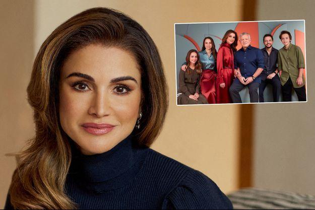 La reine Rania de Jordanie en 2020. En vignette, avec sa famille. Photo diffusée le 9 décembre 2020