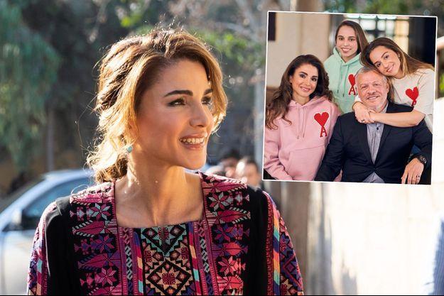 La reine Rania de Jordanie le 30 octobre 2019. En vignette, avec le roi Abdallah II et leurs filles, les princesses Iman et Salma