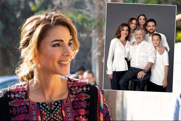 La reine Rania de Jordanie le 30 octobre 2019. En vignette, la photo de la famille royale jordanienne pour ses voeux 2019