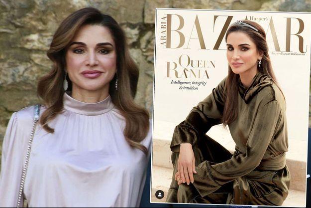 La reine Rania de Jordanie le 2 février 2019. A droite en couverture du numéro de mars 2019 de Harper's Bazaar Arabia